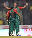 Mashrafe Mortaza and Taskin Ahmed celebrate with a chest bump, Bangladesh v UAE, Asia Cup 2016, Mirpur, February 26, 2016