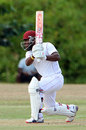 Leeward Islands' Jahmar Hamilton drives on his way to a fifty, Trinidad & Tobago v Leeward Islands, Regional 4-Day Tournament, Couva, 1st day, February 26, 2016