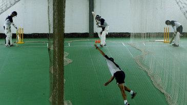 Indian batsmen bat in Chittagong's indoor nets