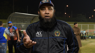 Afghanistan coach Inzamam-ul-Haq speaks to the media