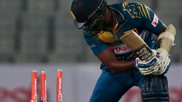 Angelo Mathews was bowled by Hardik Pandya for 18