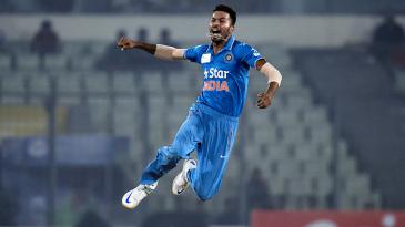Hardik Pandya leaps with joy after bowling Angelo Mathews out
