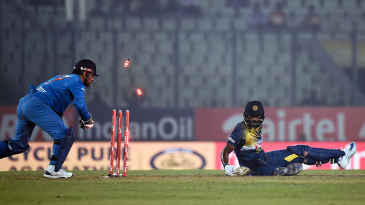 MS Dhoni was quick to whip off the bails and stump Thisara Perera for 17