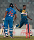 Rohit Sharma was caught at slip off Nuwan Kulasekara's bowling, India v Sri Lanka, Asia Cup 2016, Mirpur, March 1, 2016