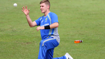 Legspinner Adam Zampa at a fielding drill during a practice session
