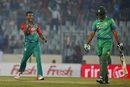 Khurram Manzoor walks back after falling to Al-Amin Hossain, Bangladesh v Pakistan, Asia Cup 2016, Mirpur, March 2, 2016