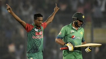 Al-Amin Hossain removed Shahid Afridi for a duck
