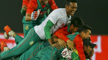 Bangladesh celebrate after reaching the Asia Cup final