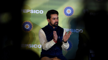 BCCI secretary Anurag Thakur speaks at a press conference