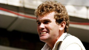 Martin Crowe celebrates their first Test win in England