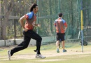 Shapoor Zadran in action during training,  Mohali, March 3, 2016
