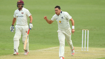 Scott Boland is delighted after picking up a wicket