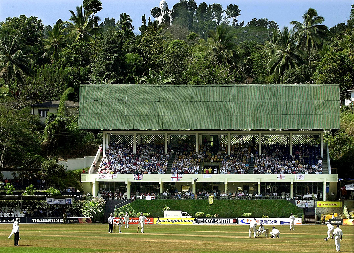 England supporters watch the match in Kandy