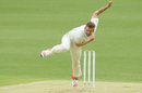 Jake Reed powers through his delivery stride, Queensland v Victoria, Sheffield Shield, Brisbane, 1st day, March 5, 2016