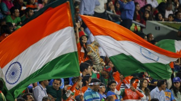India fans cheer on during the final