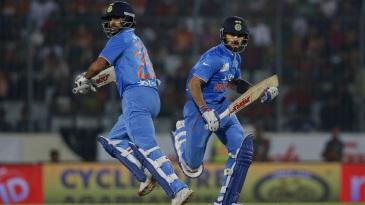 Shikhar Dhawan and Virat Kohli's partnership set India's chase up nicely