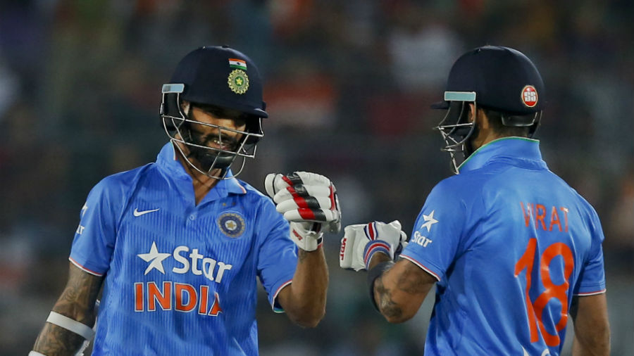 Shikhar Dhawan and Virat Kohli's second-wicket stand of 94 steered India in their chase of 121