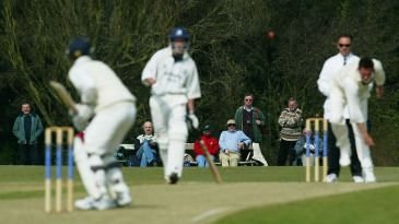 A Middlesex batsman faces an Oxford University bowler