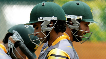 Imran Nazir and Shahid Afridi in the nets