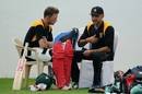 Sean Williams and Marvan Atapattu have a chat, Nagpur, March 7, 2016