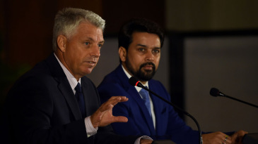 ICC chief executive David Richardson and BCCI secretary Anurag Thakur at a press conference