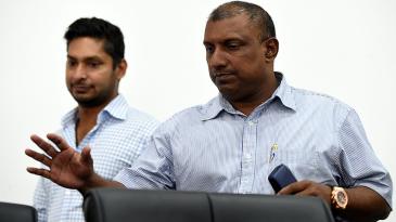 Aravinda de Silva and Kumar Sangakkara arrive at a press conference