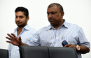 Aravinda de Silva and Kumar Sangakkara arrive at a press conference, Colombo, March 8, 2016