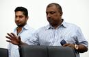 Aravinda de Silva and Kumar Sangakkara arrive at a press conference, Colombo, March 8, 2016