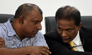 Aravinda de Silva has a word with SLC president Thilanga Sumathipala, Colombo, March 8, 2016
