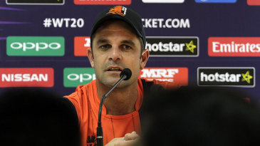 Netherlands' Peter Borren addresses the media