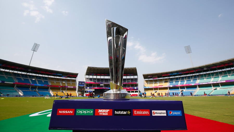 The World T20 trophy on display before the opening match
