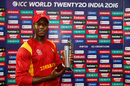 Vusi Sibanda poses with the Man-of-the-Match trophy, Hong Kong v Zimbabwe, WT20 qualifier, Group B, Nagpur, March 8, 2016