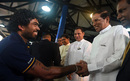 Lasith Malinga shakes hands with Sri Lanka president Maithripala Sirisena in a ceremony prior to Sri Lanka's departure for the World T20, Colombo, March 8, 2016
