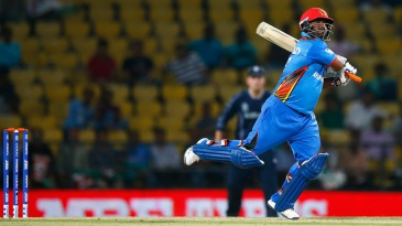 Mohammad Shahzad plays a shot on his way to a 39-ball 61