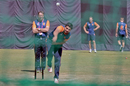 Mudassar Bukhari bowls during a practice session for Netherlands, Dharamsala, March 8, 2016