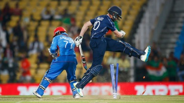 Calum MacLeod reacts after being run out by Mohammad Shahzad