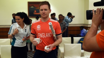 Eoin Morgan has his hands full at England's press conference