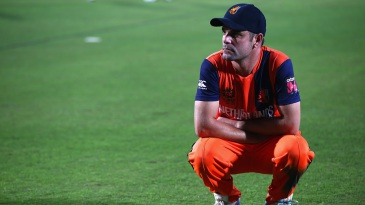 A dejected Peter Borren looks on after the eight-run defeat to Bangladesh