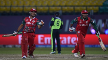 Ajay Lalcheta and Munis Ansari celebrate Oman's two-wicket win over Ireland