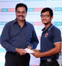 Dilip Vengsarkar felicitates Mumbai batsman Jay Bista, Mumbai, March 9, 2016