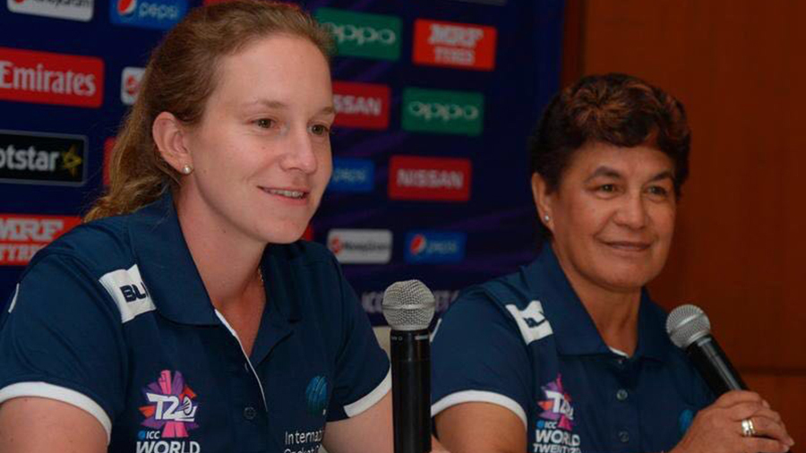 Umpires Claire Polosak and Kathy Cross speak to the media