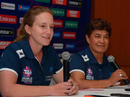 Umpires Claire Polosak and Kathy Cross speak to the media, Chennai, March 10, 2016