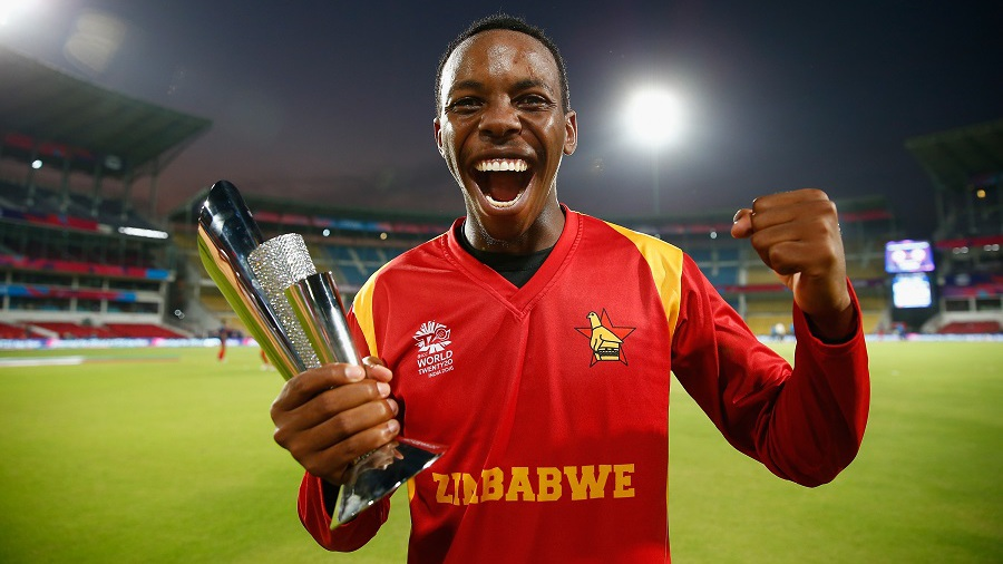 Wellington Masakadza is elated after winning the Man-of-the-Match trophy