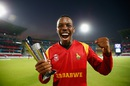 Wellington Masakadza is elated after winning the Man-of-the-Match trophy, Scotland v Zimbabwe, Group B, World T20, Nagpur, March 10, 2016