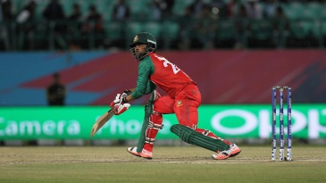 Tamim Iqbal picks up a boundary in unorthodox fashion