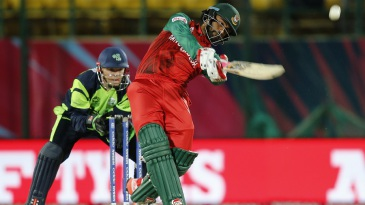 Tamim Iqbal smashes one down the ground