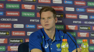 Steven Smith addresses the media during a press conference