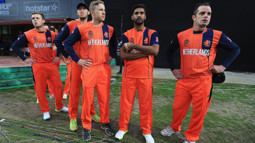 Netherlands players look on anxiously