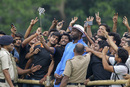 Curtly Ambrose poses with some fans, World T20, Kolkata, March 12, 2016