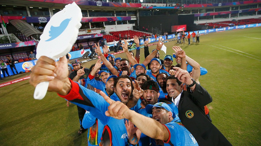 Afghanistan celebrate their win with a selfie